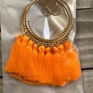 3 for $15 gold fashion earrings with bright orange